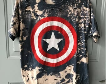 Bleached and Ripped Distressed Captain America Shirt