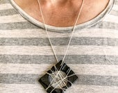 Unique handmade necklace - a gift for her or a gift for him! Silver chain - black & white paper jewellery - designer - monochrome - jewelry