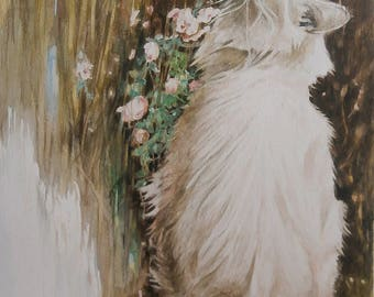 Painting watercolor cat white 23 X 33 cm