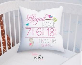 Girl Birth Announcement Pillow, Songbird Nursery Pillow, Personalized Birth Announcement Pillow, Girl Birdie Pillow, Nursery Decor