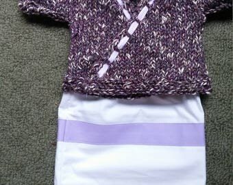 "Purple Tweed Sweater & Skirt fits 18"" American Girl doll"