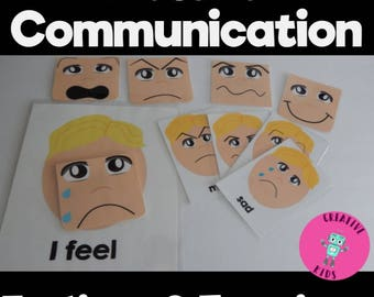 How do I feel? HUGE bundle of teaching materials-flash cards, communication board, book  and folder game  aba autism pecs  digital PDF