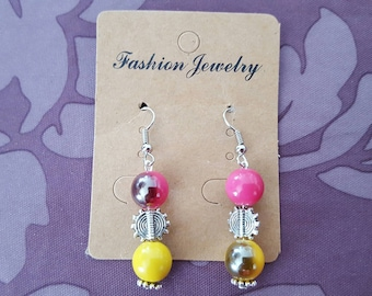 Earrings hook and silver metal bead, acrylic beads yellow and pink and Pearly hues