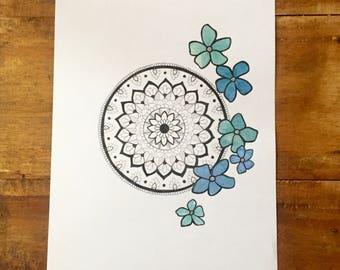 Mandala with Watercolour Flowers - Blue