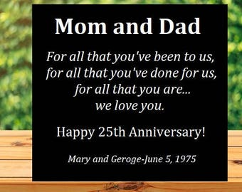 Anniversary Gift to parents, to mom and dad gift 25th aniversary gift 50th, black white, custom name sign, for all that you are we love you