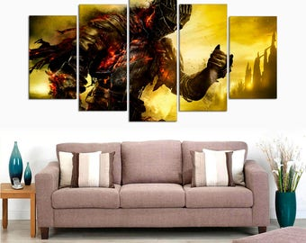 Dark Souls game - gifts for gamer - Game room decor - Gift for dad canvas painting 5 panel canvas - big framed poster gift for him