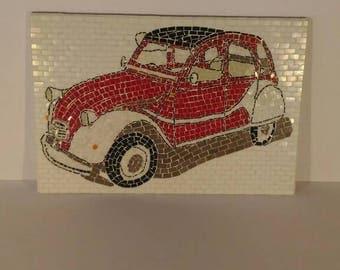 Citroen 2cv-mosaic wall art