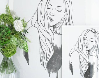 Drawing Of A Girl- Wall art, Ink, Watercolor, Art Prints, Black, Linear Drawing, Sketch, Abstract, Painting