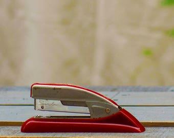 Retro Two-tone Stapler, Swingline 77S Stapler, Retro Office, Retro Desk, Red Stapler, Office Supply, Made in USA, Metal Stapler