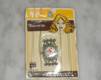 Vintage Tip Top Faberge Floral Filigree Wire Back Barrette Silver Tone New In Package 1960s Hair Clip Haircare Made in the USA