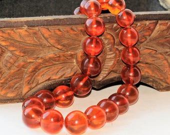 BALTIC AMBER BEADS Honey Necklace 76.22gr. 老琥珀 Vintage /sv