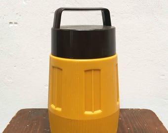 Retro Brown yellow thermos