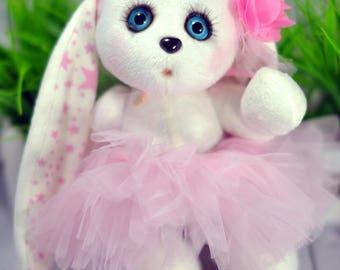 Soft textile toy bunny, Stuffed Bunny toy, Plush Bunny, Rabbit, Stuffed toy, Woodland Stuffed Animals, Handmade Bunny toy Easter souvenir