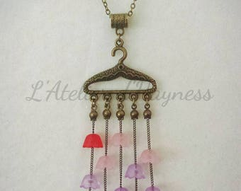 Long bronze chain and multi-colored Lucite Bell flowers