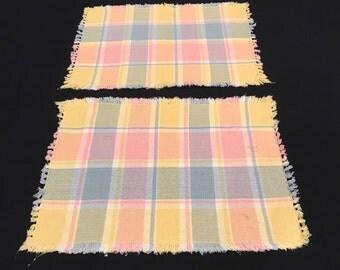 Retro Vintage Woven Placemats, pastel colors, set of 2