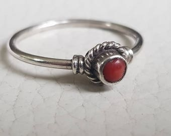 Silver Ring with Coral