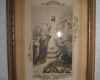"""Antique Jesus """"He is Risen"""" Framed Print from Painting by Naack, H. A. Company - Beautiful, Nice!"""