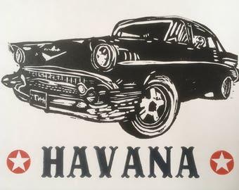Havana lino and letterpress print
