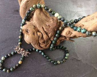 Necklace -  African turquoise necklace -  silver and gold necklace