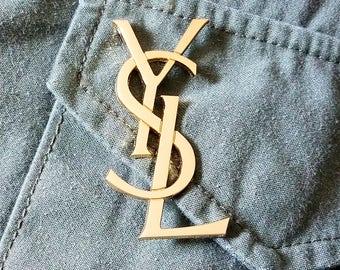 2.50 INCH YSL Yves Saint Laurent Logo Pin Brooch