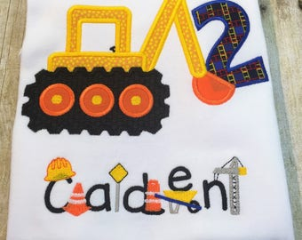 Personalized Construction Themed Birthday Shirt