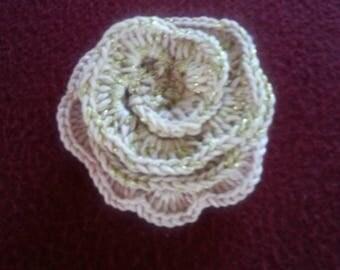 100% handmade crochet flower brooch
