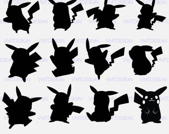 Pikachu svg - Pikachu Silhouette - Pikachu clipart - Pikachu silhoutte Digital clipart for Design or more files download svg, png, eps, jpg