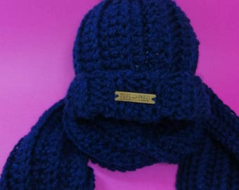 Kids Hat + Scarf Set | NAVY BLUE | Crocheted Unisex Hat Scarf Set