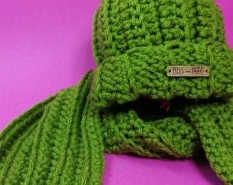 Kids Hat + Scarf Set | AVOCADO GREEN | Crocheted Unisex Hat + Scarf Set