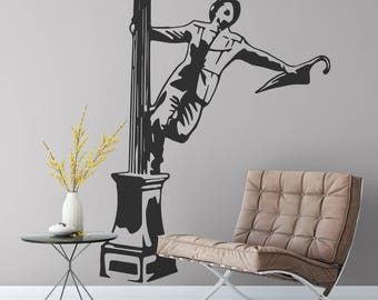 Happy Man singing in the rain by a lamp pole | Wall Decal Silhouette | Wall Sticker | Glorious Feeling | Joy | Head over heals | Home decor