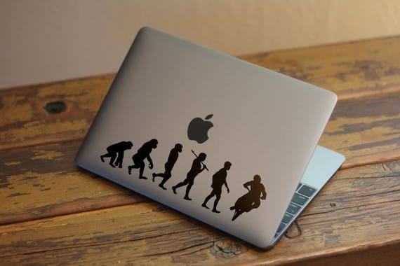Man Evolution to Biker Decal Sticker for Macbooks and other Laptops, Motorcycle Cross Trial Bike Downhill Radical Sports Motorsports, mac
