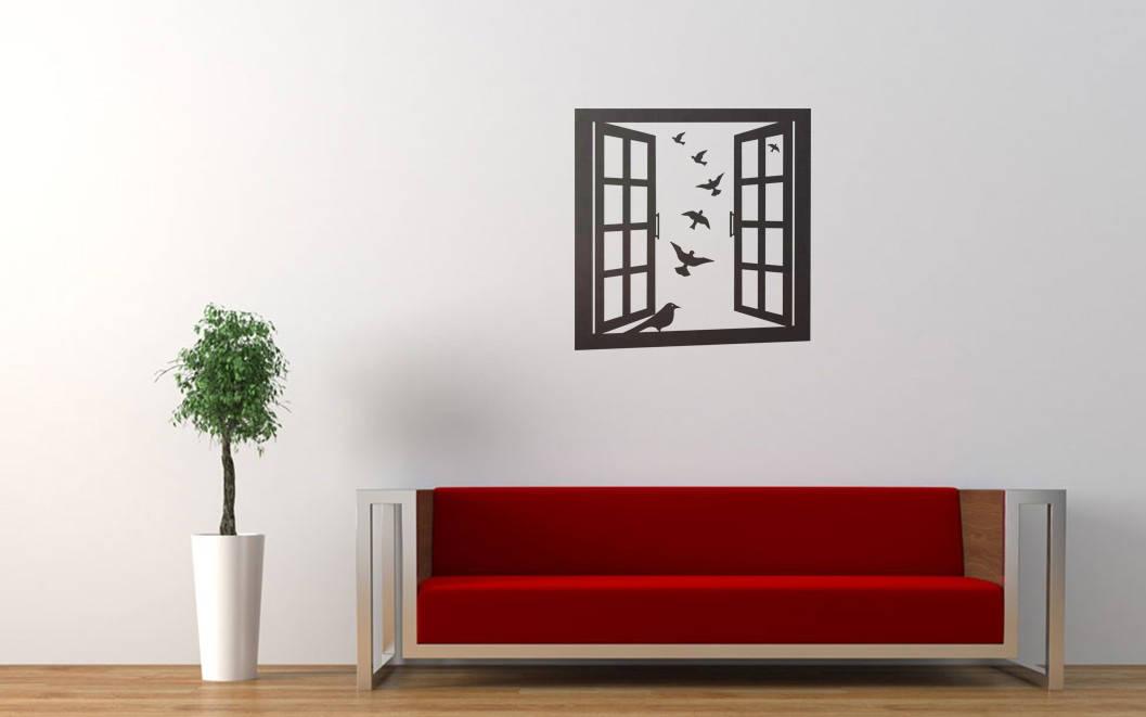 Window Frame With Birds Wall Decal Sticker Window Emulation - Window decals for birds