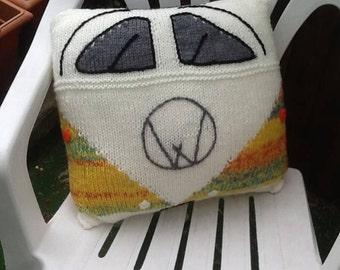 Hand knitted VW Split Scren Camper Van cushion in  yellow green. Approx size 15' X 15'.