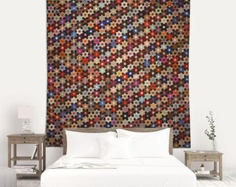 Quilt Art Tapestry, Anne Record, Mosaic Tapestry, Hexagon Pattern, Wall Tapestries, 19th Century Art, Textile Tapestry