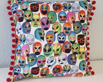 Luchador mask pillow cover, pom-pom trim. Mexican wrestling. Premium quality. Cushion cover.