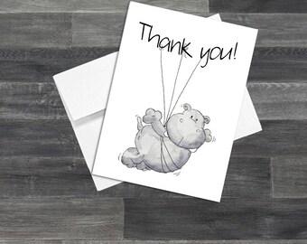 Set of Hippo Thank You Cards & Envelopes