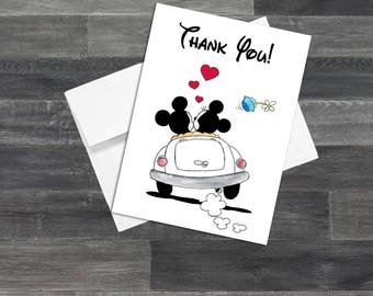 Set of Mickey and Minnie Mouse Wedding Thank You Cards & Envelopes Optional Personalization