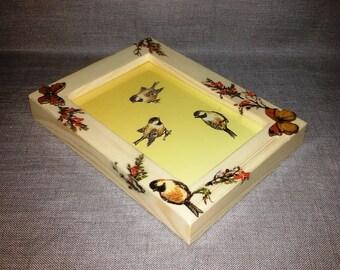 Photo frame,frame for photo,beige frames,wooden picture frames,decorated frames,decorated decoupage frames,gift for girl