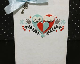 Handmade card with owls