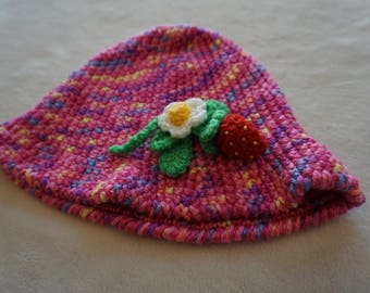 Multicolored Crocheted Girls Hat with Strawberry