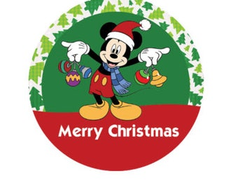 Mickey Mouse Inspired Merry Christmas Button - Holiday Button - Theme Park Button - Disney Park Pin
