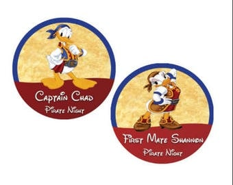 Diasy and Donald Pirate Button - Disney Cruise Buttons - Pirate Night Badges - Donald Duck Pin - Daisy Duck Pin - Pirate Costume Accessory