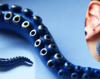 Blue and gold polymer clay tentacle ear