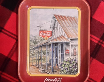 Vintage Red Artistic Coca-Cola Metal Tray 'Thrift Mercantile' by Jeanne Mack