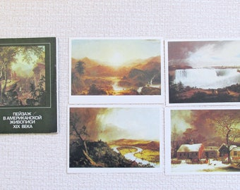 Landscape painting American Painting American art painting postcards Collectible postcards Art cards painting Gift coworker Gift best friend