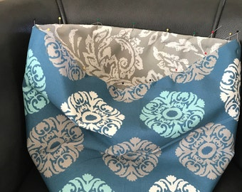 Tote blue and gray floral