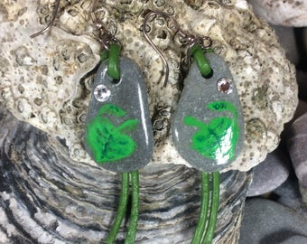 Hand painted leaf - sea stone and leather thong earrings with Sterling silver ear wires and Swarovski crystals