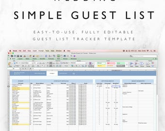 Wedding Guest List Spreadsheet   Wedding Guest List Tracker   Wedding RSVP  List   RSVP Tracker  Printable Wedding Guest List Spreadsheet