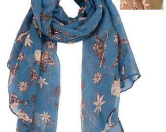 Fab Vintage Blue Khaki Floral Bird Print Scarf/Womens Ladies Vintage Scarfs Shawls Wraps/Winter Scarf/Autumn Fall Scarf/Scarves for Women