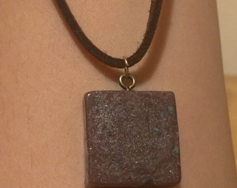 Purple Square Suede Leather Choker